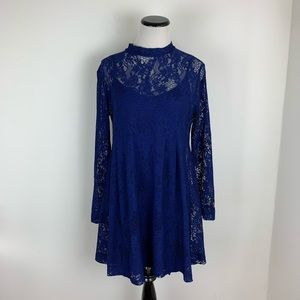 ASOS Lace Long Sleeve Fit & Flare Dress Navy Blue